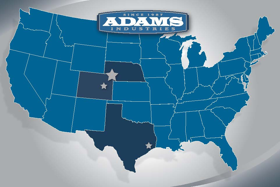 ADAMS INDUSTRIES LOCATION MAP